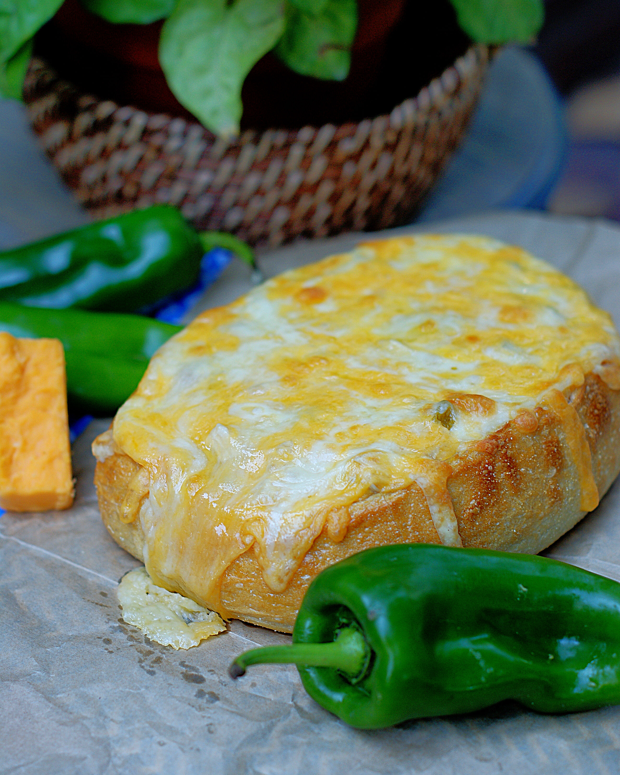 A loaf of Green Chile Chicken Stuffed Bread