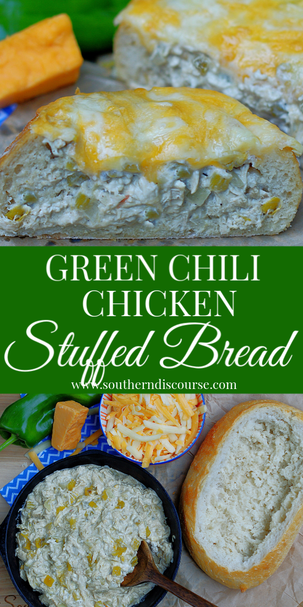 This stuffed cheesy bread is loaded with cream cheese, chicken and green chiles! It's perfect game day app or party food! #southerndiscourse #greenchiles #hatch #cheesebread