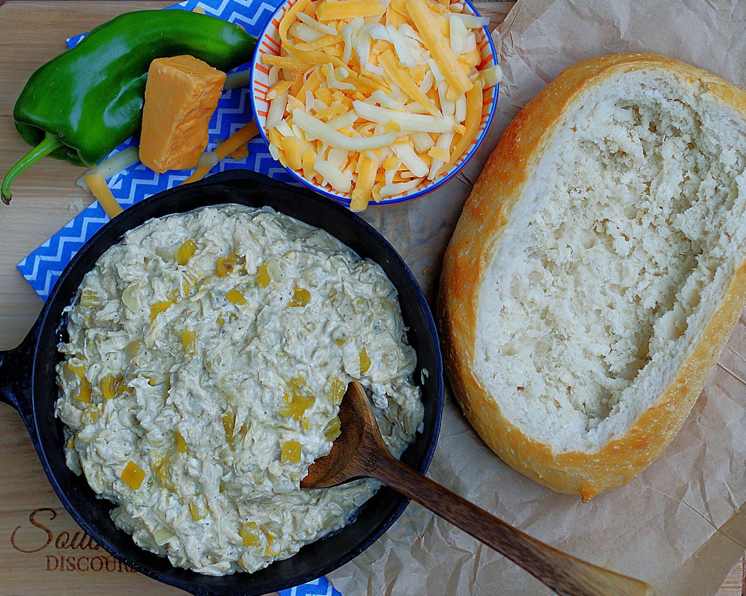 The ingredients for Green Chili Chicken Stuffed Bread
