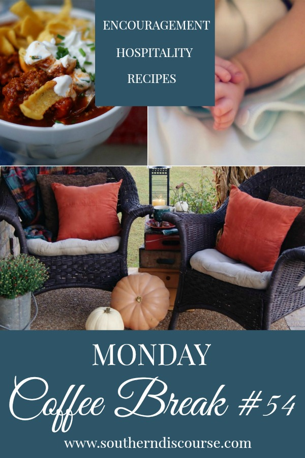 Every week at SouthernDiscourse.com, we start the week with Biblical encouragement, home & hospitality inspiration & a feature recipe! This week's coffee break features 2 recipes for Texas Chili, fall porch tours to welcome the season and real talk about abortion- it's not a political issue. #southerndiscourse #coffeebreak