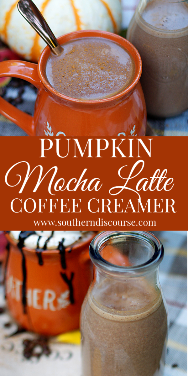 This easy seasonal inspired coffee creamer recipe combines robust dark chocolate and velvety pumpkin spice so you can stir up a rich fall flavored mocha latte right in your kitchen any time you like!  #southerndiscourse #coffeecreamer #pumpkinspice #mochalatte