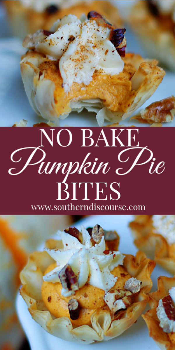 This easy no bake recipe let's you enjoy rich, creamy pumpkin pie filling and a cream cheese topping all in a perfect bite-sized phyllo cup! #southerndiscourse #pumpkinpie #pumpkintart #nobakepumpkinpie #pumpkinfluff
