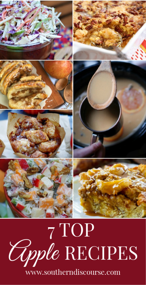 7 top apple recipes for you to enjoy! Say hello to fall with these 7 apple recipes- everything from muffins to cake to french toast to salads! #apple #applerecipes #cider #applepie #appleslaw #southerndiscourse