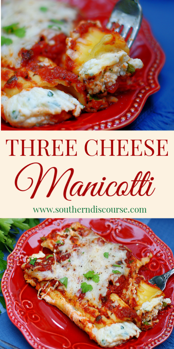 This is the BEST recipe for Classic 3 Cheese Baked Manicotti. Delicious pasta stuffed with an easy filling of Ricotta, Mozzarella and Parmesan Cheeses. #southerndiscourse #pasta #comfortfood #casserole #easyrecipe