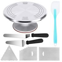 Cake Turntable with Angled Icing Spatula and 3 Comb Icing Smoother, Silicon Spatula