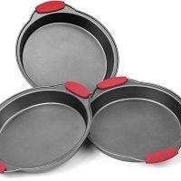 Elite Bakeware 3 Piece NonStick Cake Pans Set with Silicone Handles