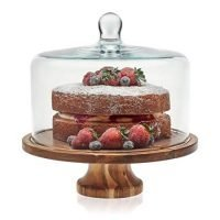 Footed Cake Stand with Glass Dome