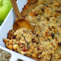 A spoonful of Sausage Apple Cranberry Dressing