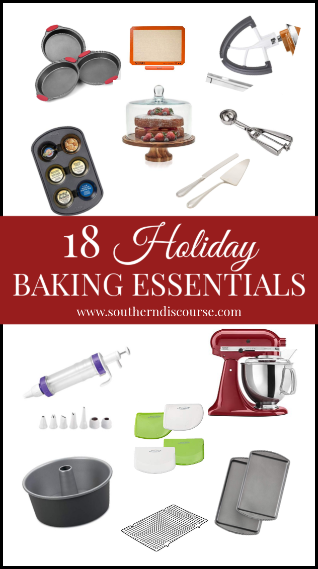 Everything you need to make holiday baking a success!  Pans, tools, & utensils I use to save time, eliminate frustration and create successful bakes every time!  #southerndiscourse #bakingguide #holidaybakingneeds  #holidaybaking