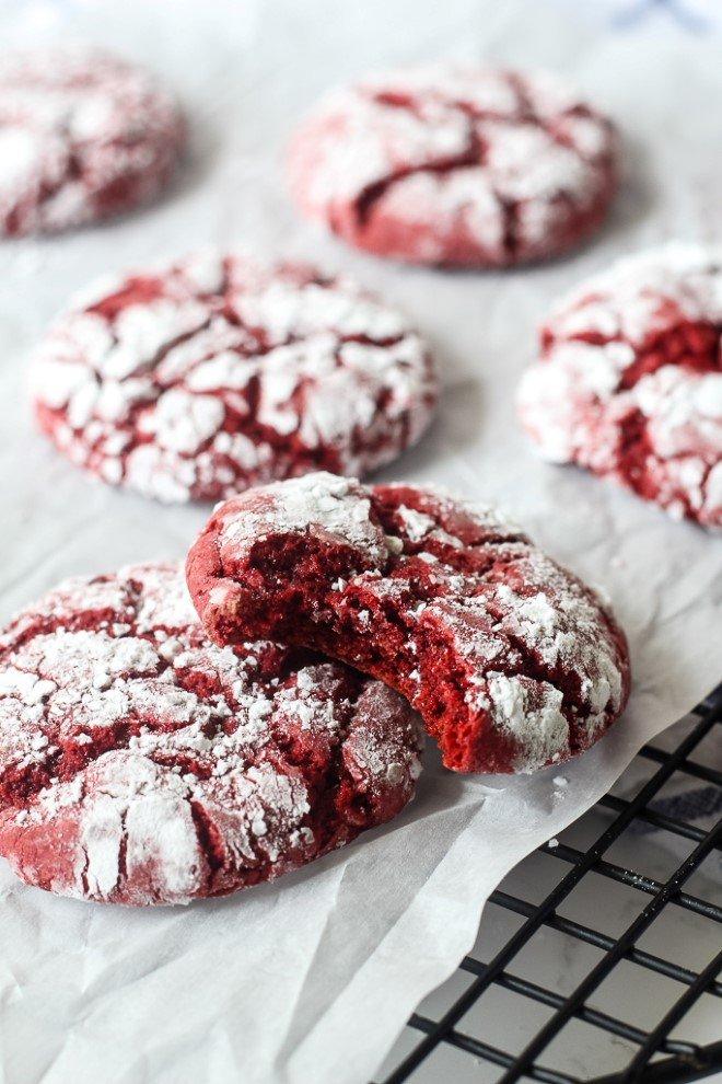 Cake Mix Red Velvet Crinkle Cookies
