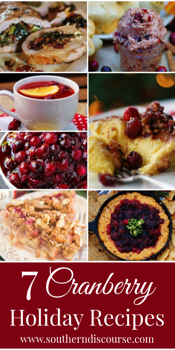 Easy & delicious cranberry recipes to celebrate the holidays! Everything from hot cranberry cider to sauce to dips to pies, this is your complete guide to holiday cranberries! #southerndiscourse #cranberrysauce #cranberrydrink #breakfastcasserole #thanksgiving #christmas #compoundbutter