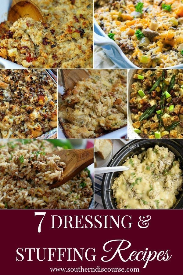 Delicious dressing & stuffing recipes for the holidays- classic chicken & dresssing, crock pot, apples, sausage, pecans, rice dressings and more! #southerndiscourse #sourdough #cornbread #cranberries #cornbreaddressing #stuffing