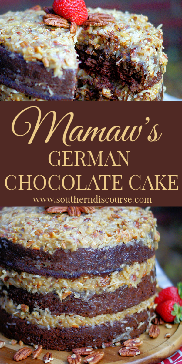 This deliciously moist, traditional cake uses my Mamaw's old fashioned frosting recipe to create the best frosting loaded with coconut and pecans. #southerndiscourse #germanchocolate #holidaydesserts #classiccake