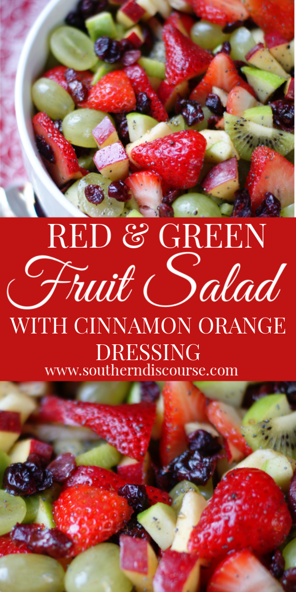 This easy winter fruit salad is filled with red & green apples, dried cranberries, kiwi and strawberries for a festive look! Simple, healthy honey orange dressing with poppy seeds. #southerndiscourse #thanksgiving #christmas