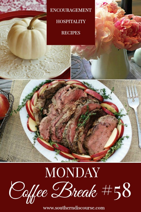 Every week at SouthernDiscourse.com, we start the week with Biblical encouragement, home & hospitality inspiration & a feature recipe! This week's coffee break features a 3 tips for incorporating new recipes into your holiday menu, an easy recipe for prime rib and an honest look at our responses to other people's sin. #southerndiscourse #coffeebreak