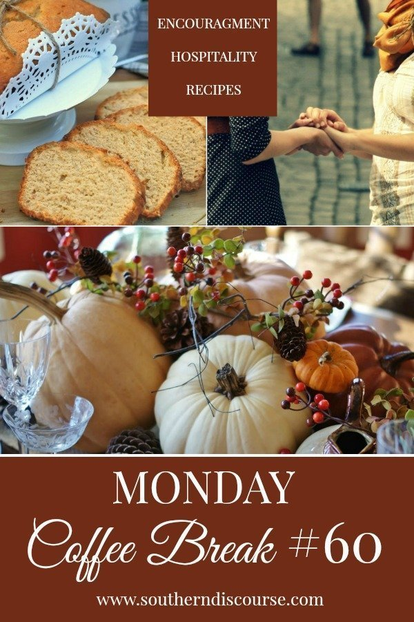 "Every week at SouthernDiscourse.com, we start the week with Biblical encouragement, home & hospitality inspiration & a feature recipe! This week's coffee break features a deliciously moist sweet potato pound cake, encouragement about what it really means to ""have friends and a gorgeous Thanksgiving table!   #southerndiscourse #coffeebreak"