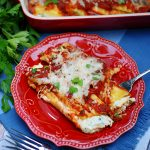 3 Cheese Manicotti on a plate