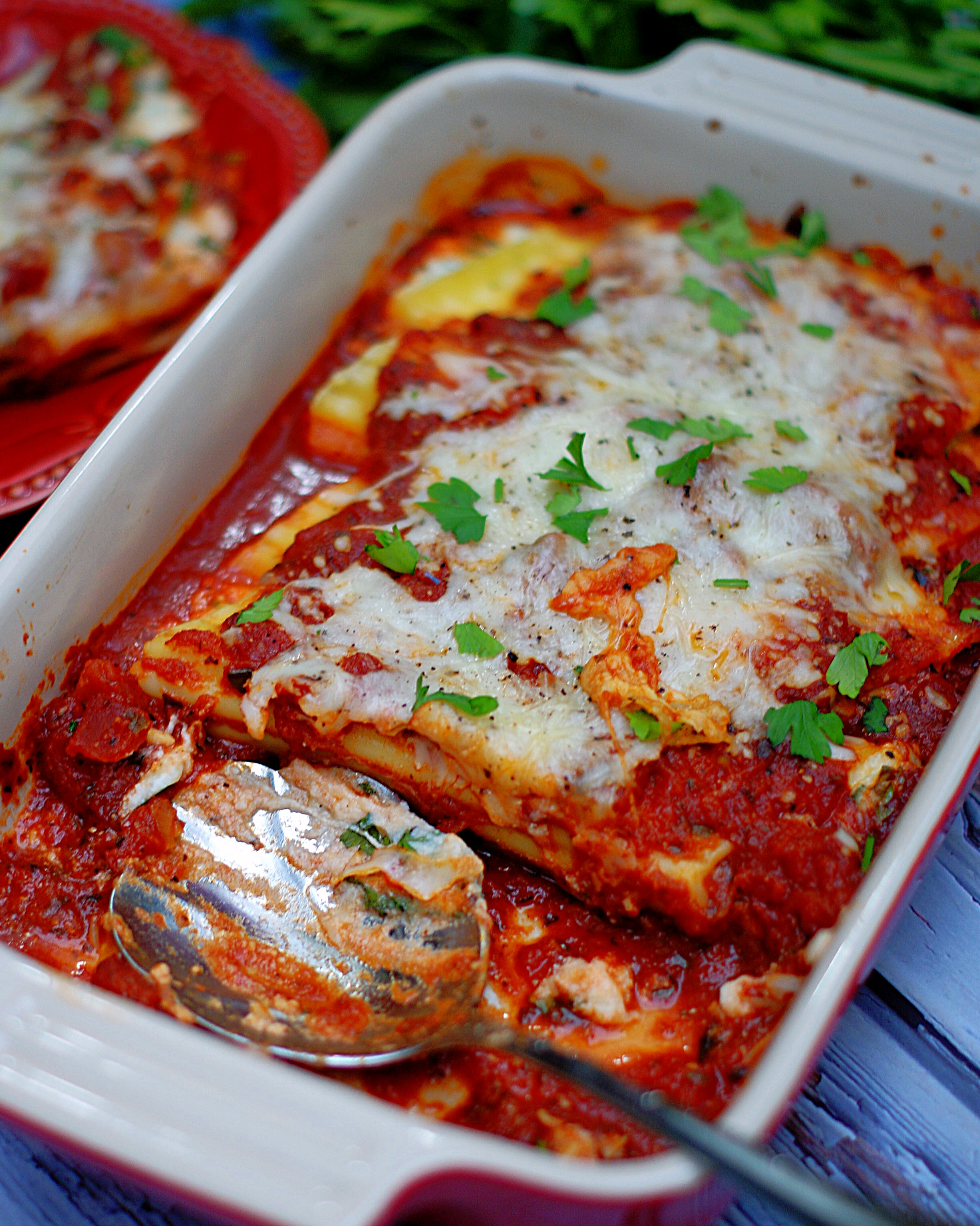 3 Cheese Manicotti in a casserole dish