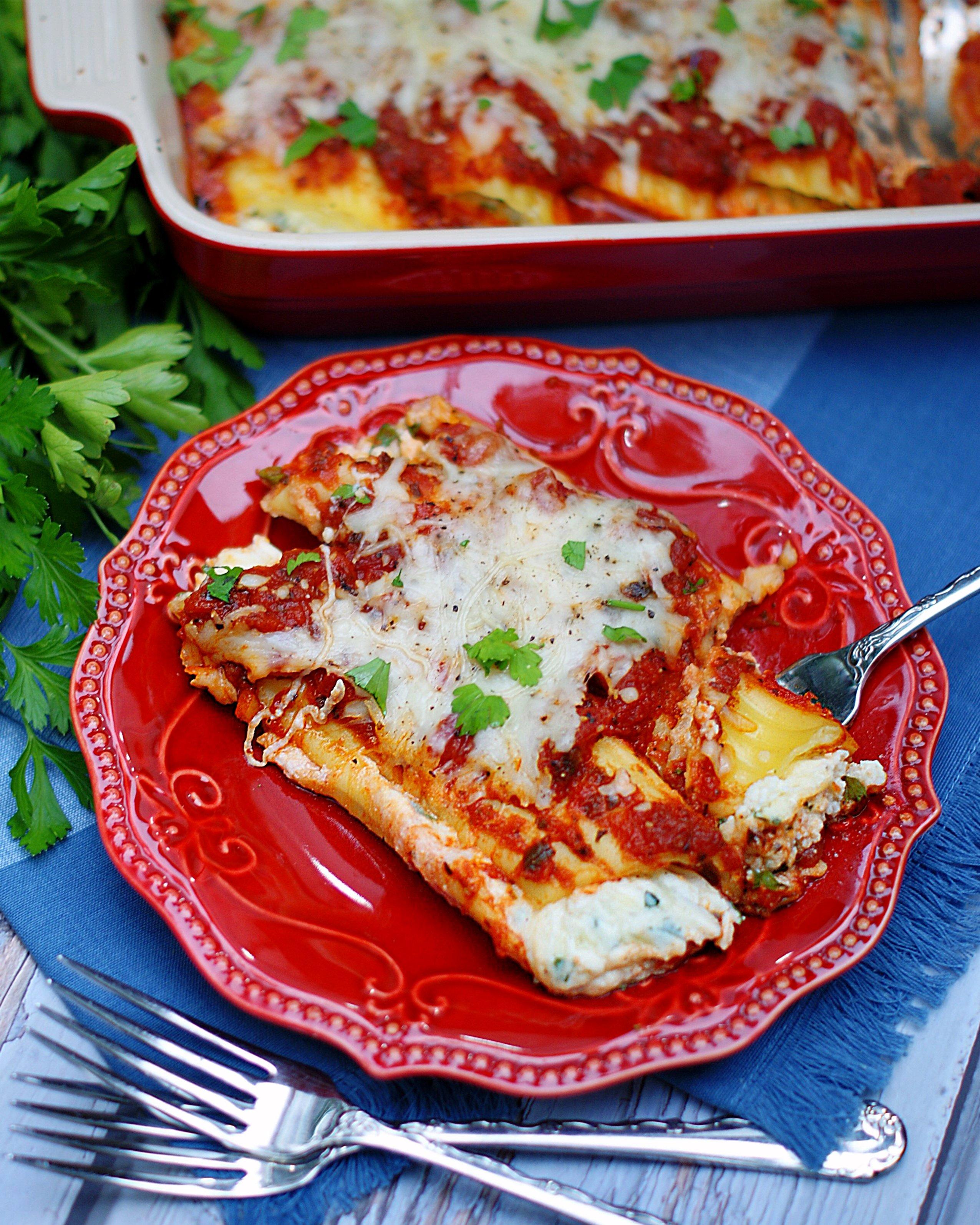 3 Cheese Manicotti on a plate