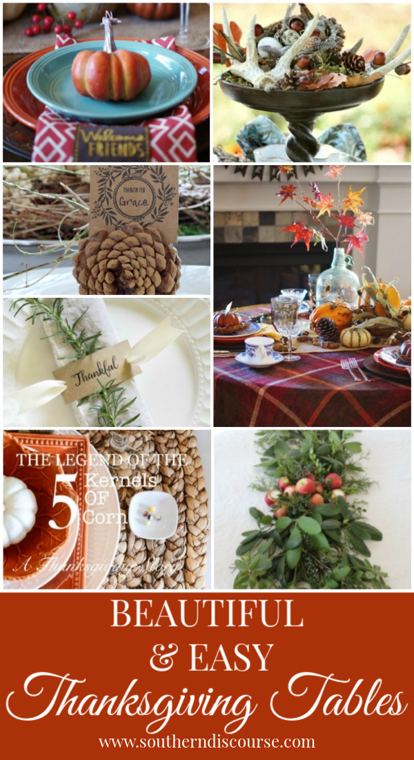Beautifully simple & easy Thanksgiving table settings to make your family feel at home.  #decorations #tablescapes #thanksgivingideas