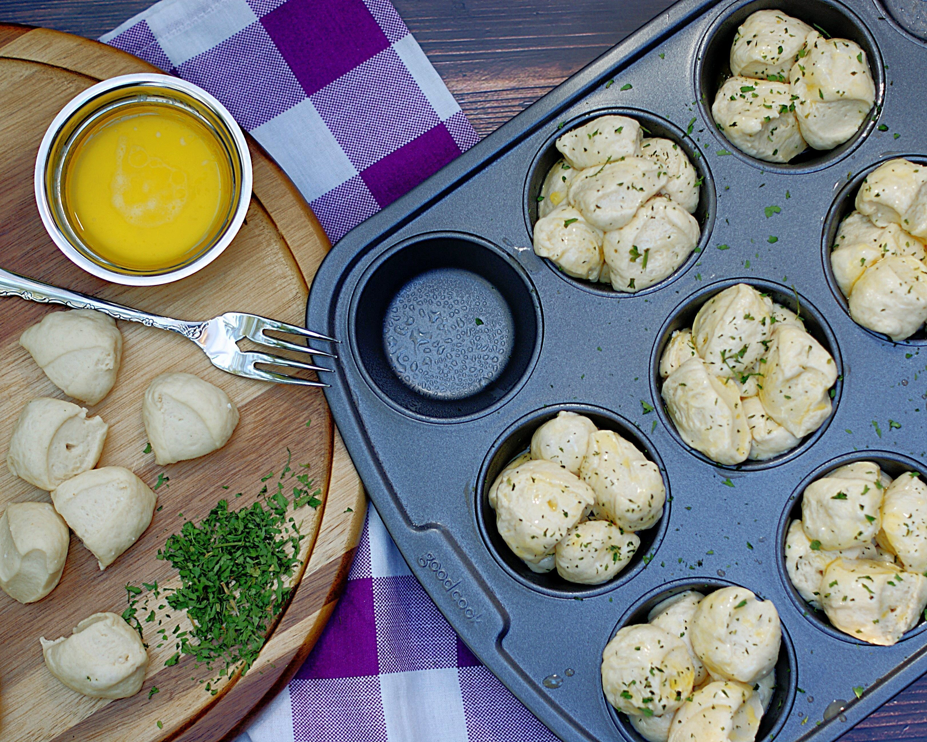 making Shortcut Pull Apart Rolls in muffin tins