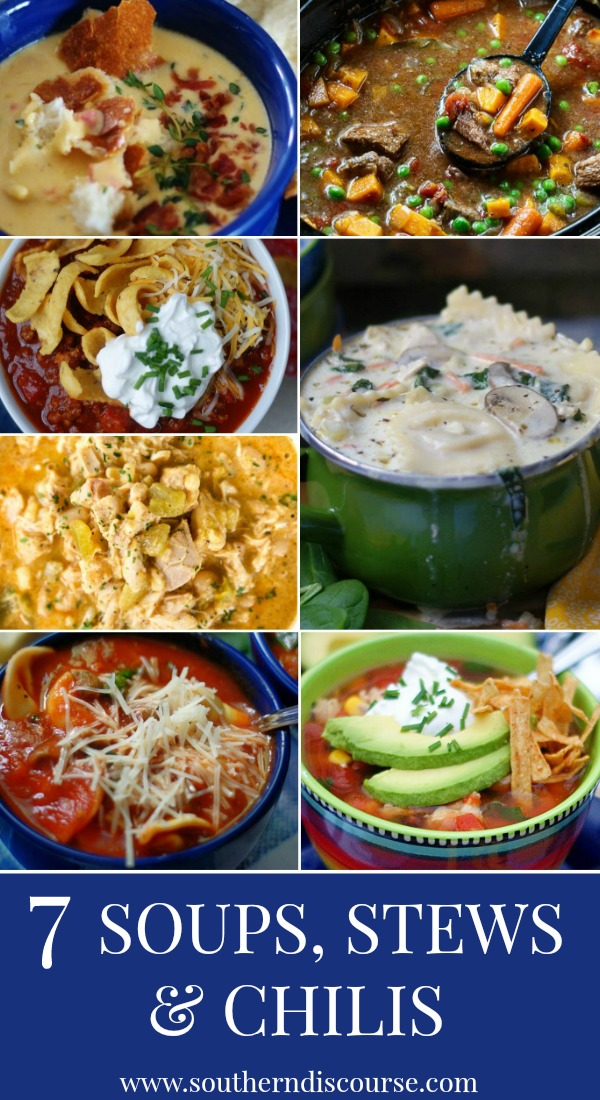 7 deliciously warm and inviting soups, stews & chilis to warm your family when the weather gets cold! #texaschili #beefstew #chickenchili #ravioli #tortellini #chickentortilla