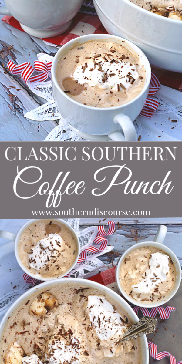 Celebrate all your special moments with this Southern tradition- Easy, Delicious Coffee Punch!  Made with brewed coffee, ice cream, & whipping cream, this is the best mocha drink.  Indugle!  #showers #holidays #partypunch #receptions #coffee #mocha