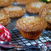 Upclose of a gingerbread muffin