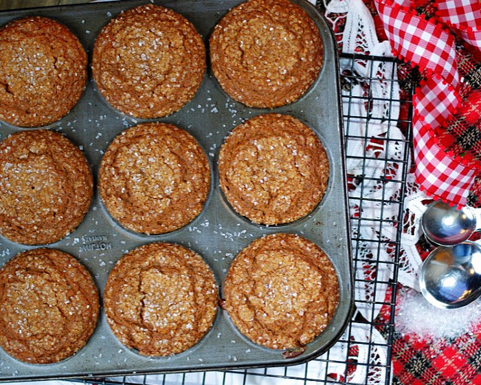 A warm pan of homemade gingerbread muffins