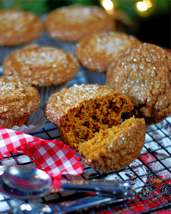 The inside of the best homemade gingerbread muffins