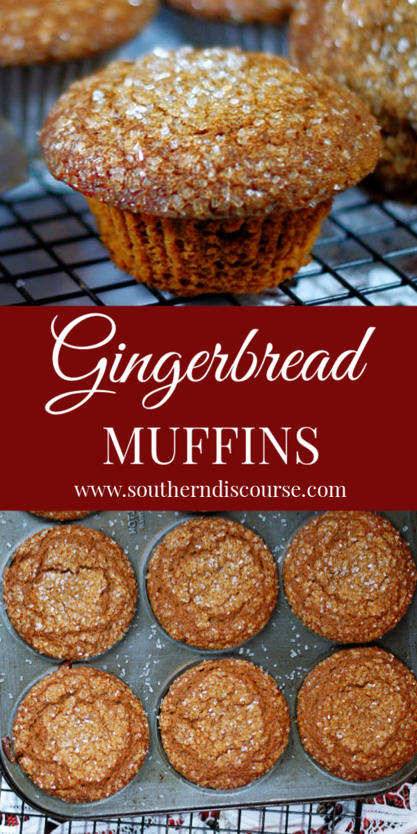 You're going to love this easy recipe for gingerbread muffins with bakery style tops and sparkling sugar!  Rich with spices and molasses, applesauce keeps the muffins tender and moist.  Perfect for Christmas parties, breakfast or brunch.  #homemade #moist #holiday #breakfast