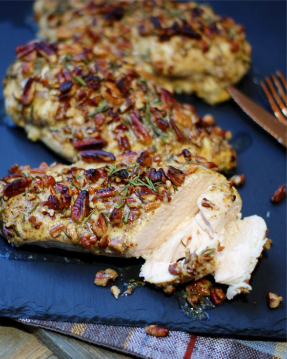 Pecan Crusted Chicken sliced without sauce