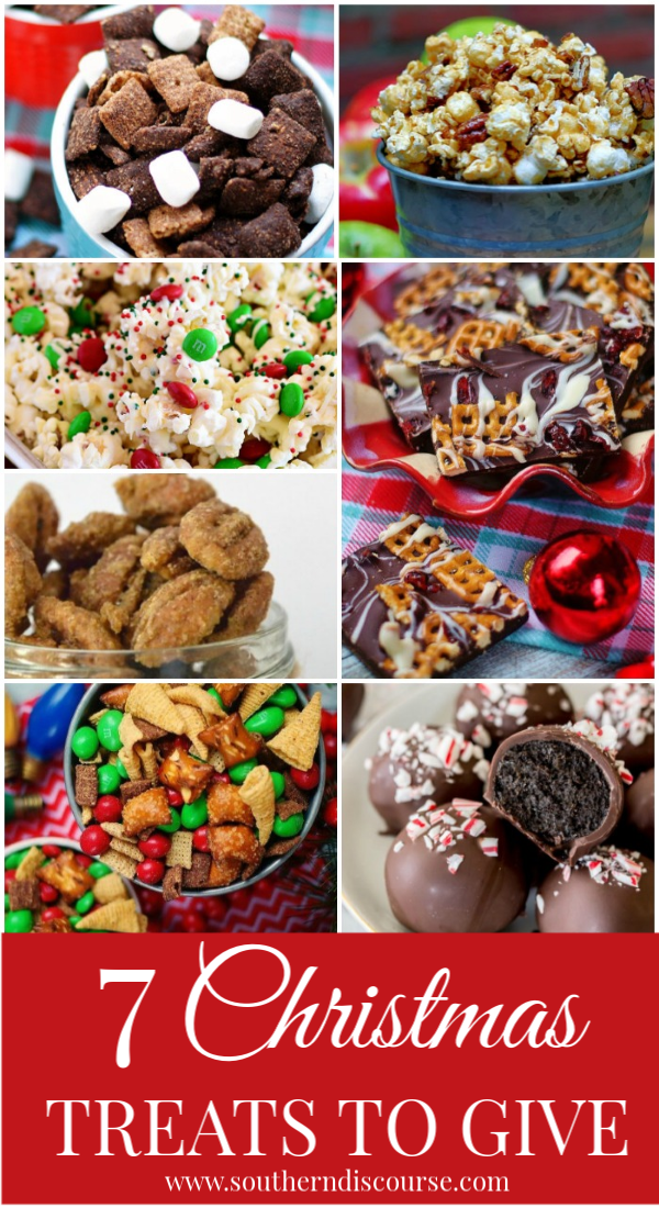 7 easy, delicious Christmas snacks and treats to give as gifts or as party favors! Perfect for get togethers or just munching while you watch a Christmas movie! #christmasgoody #popcorn #snackmix