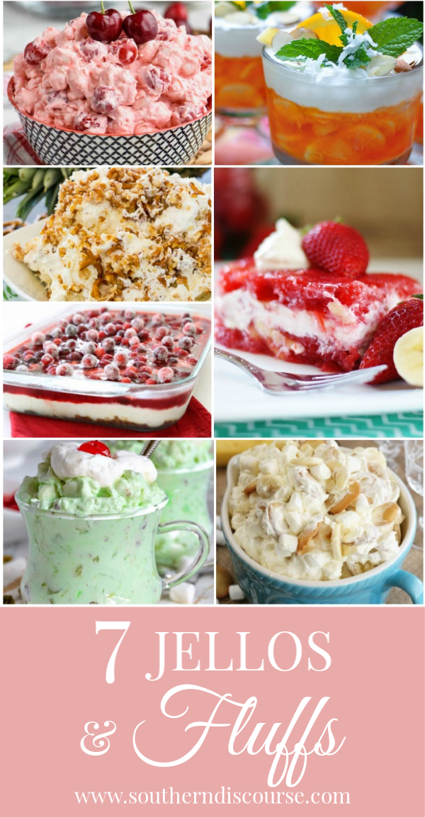 Creamy, delicious fluff and jello salads are everyone's favorites and so easy to make!  Enjoy these classic salads for potlucks, holidays, & special occasions.  #strawberryjellosalad #orangejellosalad #waldorf #bananapudding #pineapple #cranberry