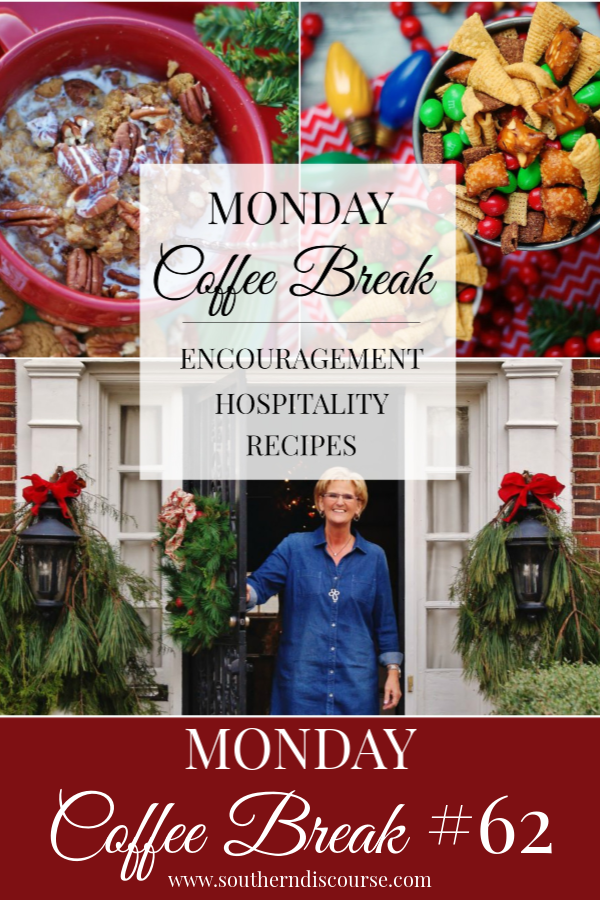 Every week at SouthernDiscourse.com, we start the week with Biblical encouragement, home & hospitality inspiration & a feature recipe! This week's coffee break features a Christmas home tour with the secret to making any home inviting, plus 2 easy Christmas recipes to share!outherndiscourse #coffeebreak