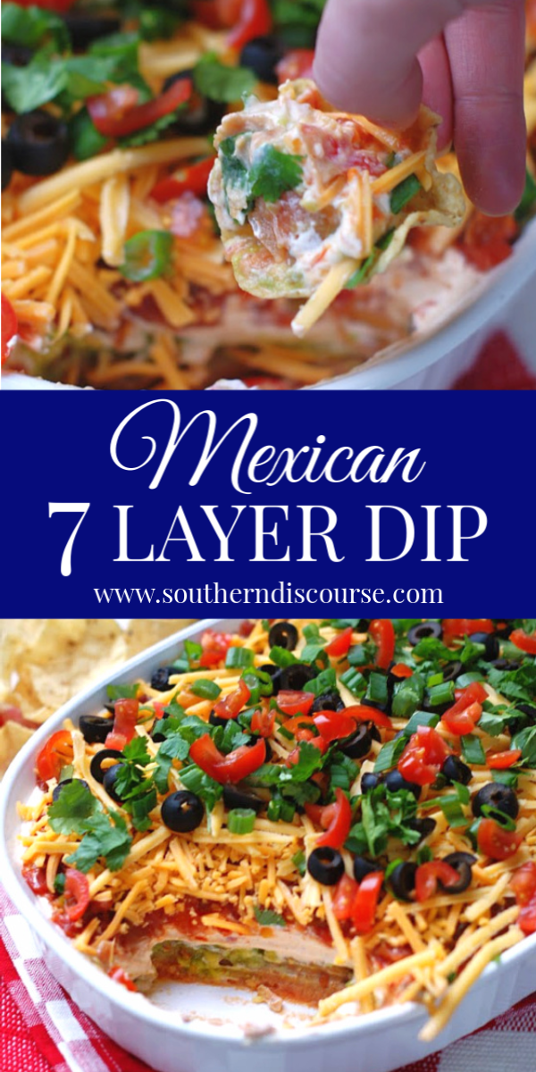This easy, classic recipe for 7 Layer Dip makes for the best Mexican bean dip around! #traditional #superbowl #salsa