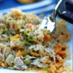 A forkful of Chicken & Wild Rice Casserole.