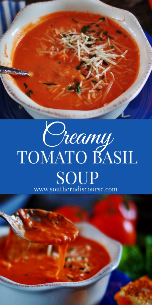 Easy Creamy Tomato & Basil Soup is a simple, quick way to put comfort food on the table!  #tomatobasilbisque #tomatosoup #comfortfood