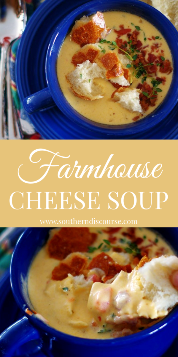 A delicious farmhouse twist on classic cheese soup. With a little white wine, thyme, roasted red peppers, and sharp cheddar, this rich and creamy cheese soup will be a favorite!