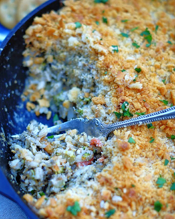 An upclose photo of Chicken & Wild Rice Casserole in a skillet.