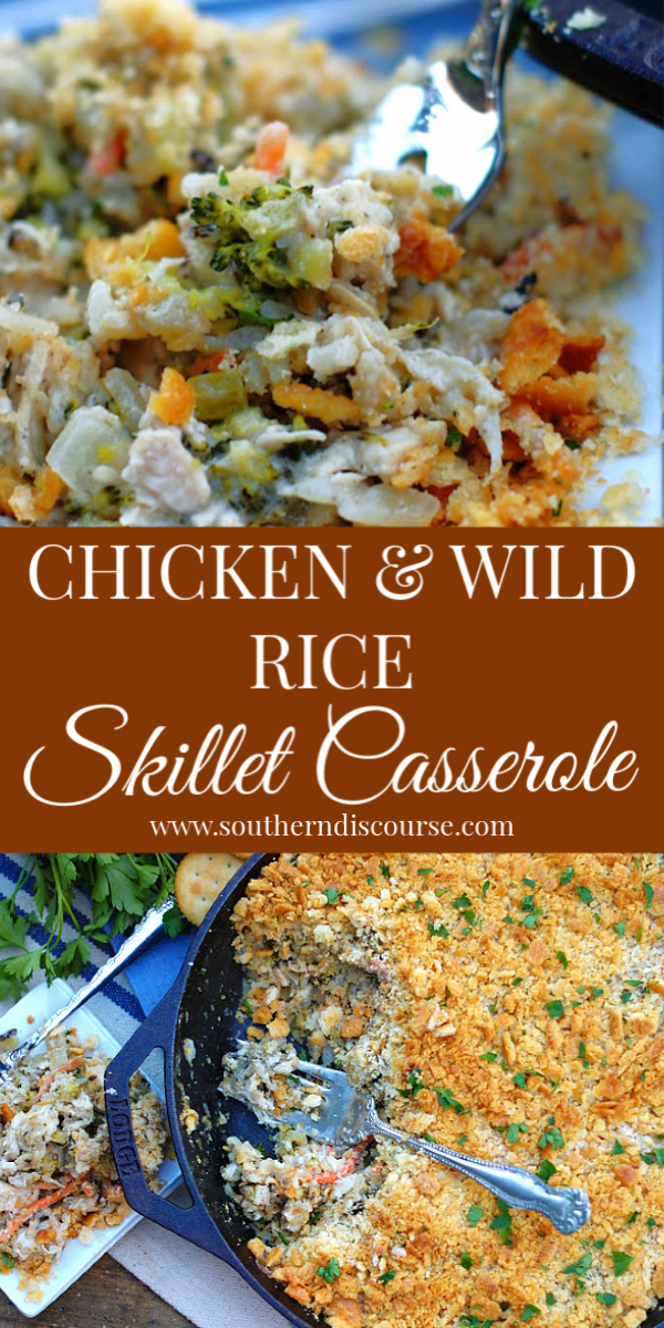This easy chicken & wild rice casserole recipe is delicious comfort food!  With Uncle Ben's Wild Rice, a Ritz cracker topping, and a creamy sour cream & Parmesan cheese sauce, everyone will love it!  #broccoli #best #familymeal