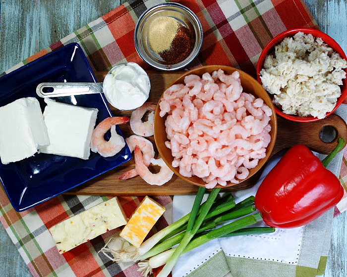 The ingredients for hot crab & shrimp dip