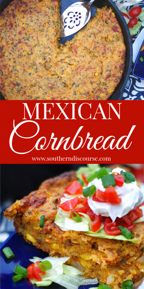 This easy shortcut recipe for Mexican Cornbread makes the perfect one dish casserole meal for any night of the week!  Baked up in a cast iron skillet, this cheesy dish is made with creamed corn, ground beef and spicy jalapenos!  #easyrecipe #cornbreadmix #southern