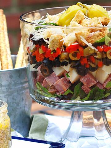 Layered Muffaletta Salad Title