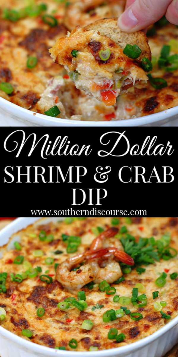 This classic baked Louisiana dip is loaded with shrimp, crab, bell pepper, onion, bacon, 4 cheeses and all the right seasoning and spices! #hot #easy #creamcheese #creamy