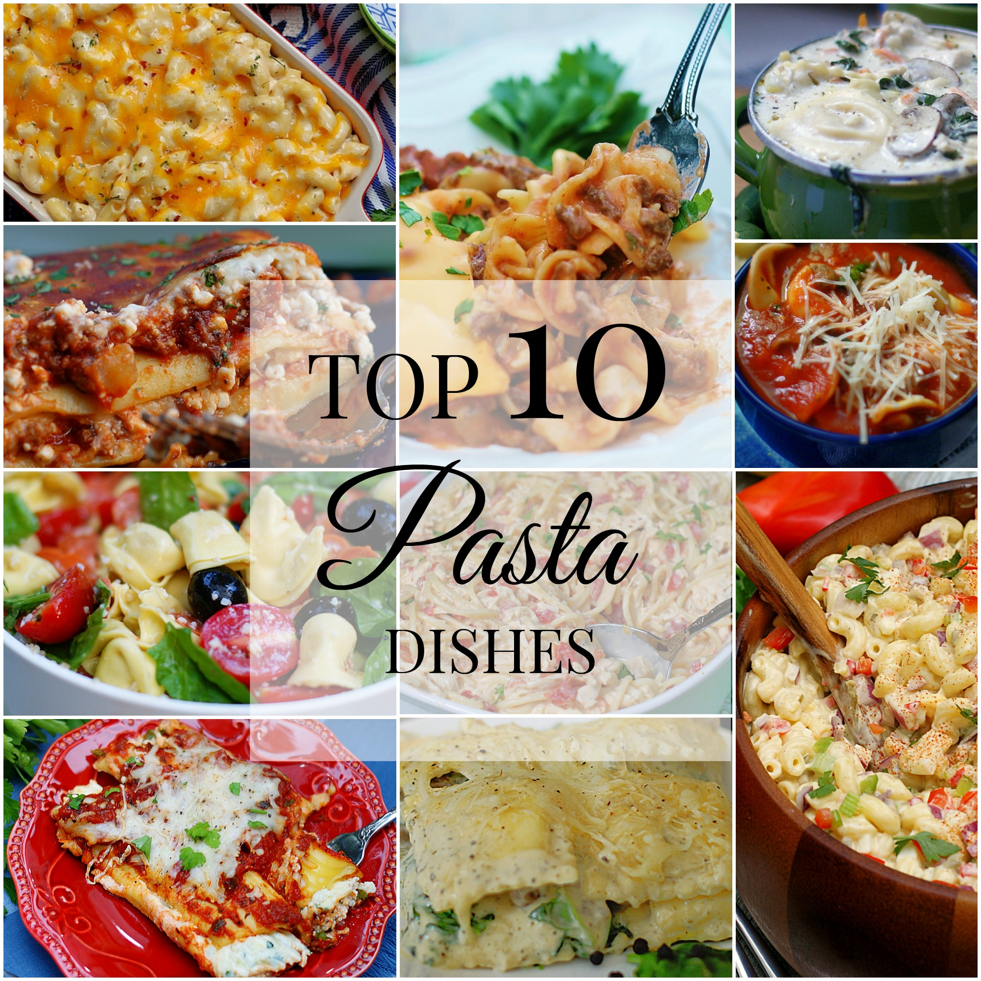 10 pasta dishes title collage