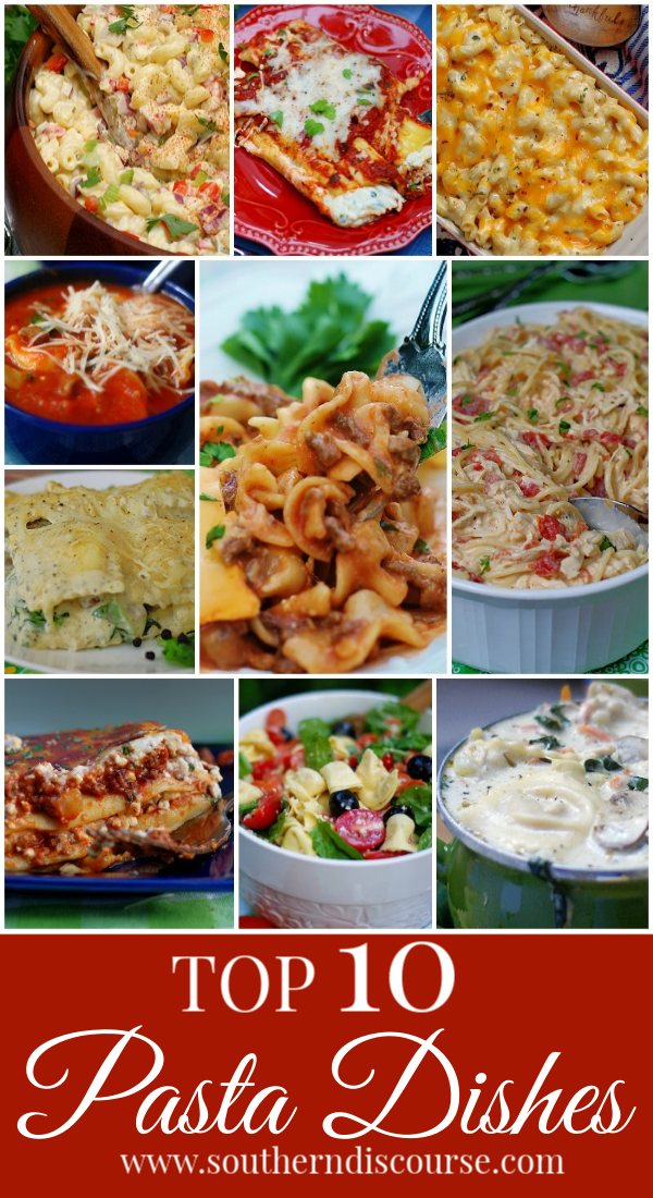 10 simple & easy pasta recipes to feed your family! Beef, sausage, cheese, & chicken. A little of everything you'll need to serve the best pasta dinners! #redsauce #alfredosauce #soup #salad #casserole #familymeals #comfortfood