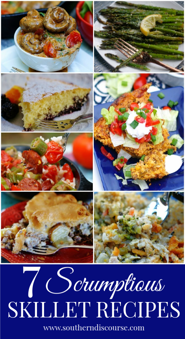 7 EASY cast iron skillet recipes your your oven or stove top. Get ready to make the most delicious skillet dinners, side dishes, and desserts! #skilletmeals #skilletcornbread #castiron