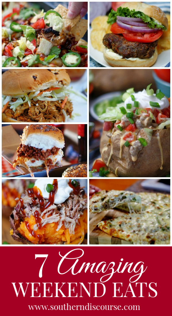Delicious & easy weekend recipes to celebrate your days off! Burgers, BBQ, nachos, pizza and potatoes! #partyfood #tailgate #gameday #weekend