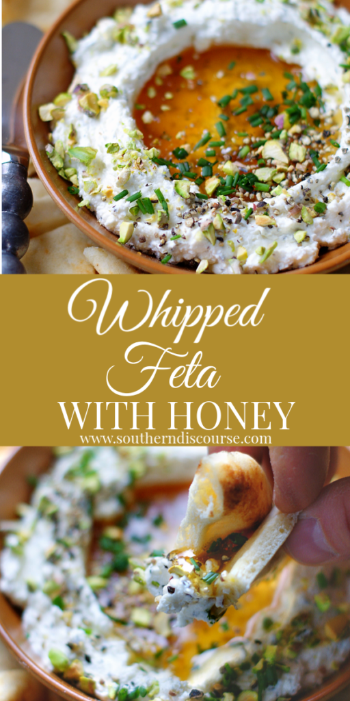 Easy Whipped feta dip with cream cheese, honey, garlic and a spicy kick from cracked pepper. Perfect for parties, weekends!